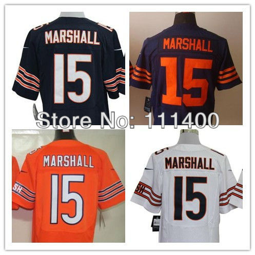 Free Shipping,#15 Brandon Marshall Blue White Orange Men's Elite Jersey,American Football Jersey,Stitched logos,Size 40-56(China (Mainland))