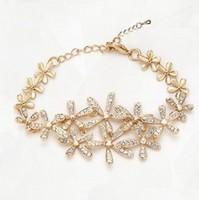 Wholesale 18K Gold Plated Crystal Flowers Bracelet Austrian Crystal Bracelet Fashion Jewelry MG1270990493