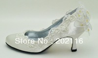 1 pair/lot 2 Custom-made Ivory or White corlor Bridal New Design Evening Shoes MM-0812-2