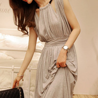 Women's halter-neck sleeveless one-piece dress high waist slim design long tank dress