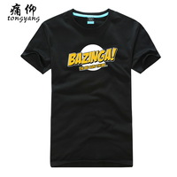 2013 American drama the big bang theory BAZINGA Fashion Black Print T-Shirts Free Shipping %100 Cotton Shorts Sleeves Blue Shirt