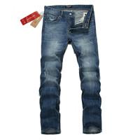 Free shipping 2013 autumn outfit new men jeans blue straight mass joker classic cowboy pants men's specials