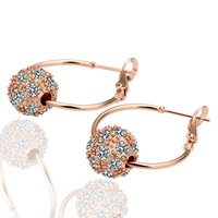 KE009 18K Rose Gold Plated Fashion Hoop Earrings Jewelry Made with Austrian Crystal SWA Elements Wholesale
