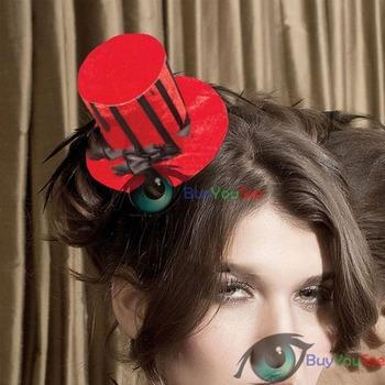 Free shipping: New Elegant Ladys Red Velvet Striped Mini Top Halloween Hat Nylon 70341-1 wholesale