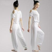 Modal female plus size yoga clothes set loose half sleeve yoga clothing