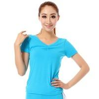 Yoga clothes top female long short-sleeve yoga fitness aerobics clothing top pad a2801