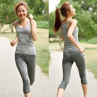 Yoga clothes set vest capris yoga clothing summer fitness clothes female