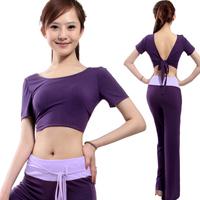Yoga clothes set summer tops purple yoga clothing lacing dance clothes 12061
