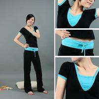 B short-sleeve yoga clothes set fitness clothing dance clothes yoga clothing summer female 100% cotton