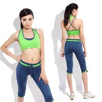 Tube top sleeveless vest capris yoga clothes set sports fitness yoga clothing