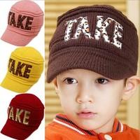 2015 new children's knitting baseball cap leopard take fashion children autumn and winter warm sport cap
