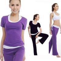 Yoga clothes set yoga clothing set spring and summer short-sleeve yoga clothes piece set