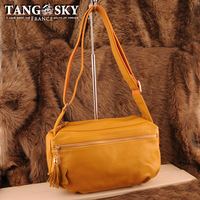 First layer of cowhide yellow messenger bag fashion vintage 2013 female shoulder bag