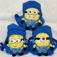 2013 hot sale Despicable Me 2 Cosplay backpack Jorge minions schoolbag plush STUART toy Beedo Baby 3D eyes children shoulder bag
