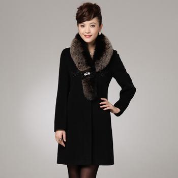 2013 free shipping winter Woolen overcoat fox fur collar long sleeve cashmere overcoat woolen outerwear  women's wool coats