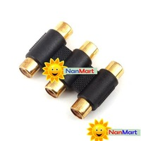 Free shipping: 3 to 3 RCA Phono Female Socket Extension Adapter wholesale