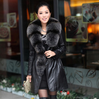 2013 winter women's genuine sheepskin leather coat large real fox fur collar leather clothing outerwear