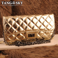 Cowhide gold plaid sewing thread vintage chain women's handbag messenger bag