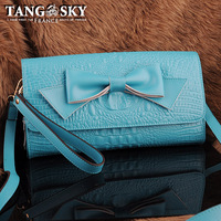 Cowhide blue crocodile pattern bow small messenger bag one shoulder multi-purpose fashion wrist length belt