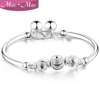 Maomao 990 pure silver bracelet female silver bead transfer bell bracelet silver jewelry female bracelet