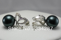oblest! Black AAA+ Sea Shell Pearl Earring