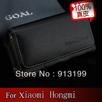 Free Shipping Mobile Phone Bag For Xiaomi hongmi,Genuine Flip Leather Case Pouch Holster Belt Clip Cover For Xiaomi Red rice