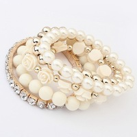 Korean Fashion Set Beige Rose Pearl Multilayer Stretch Bracelet Bangle Women Fashion Jewelry Wholesale Free Shipping #99407