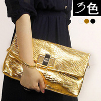 Bags SALES! shiny crocodile pattern day clutch lock bag serpentine pattern shoulder bag messenger bag female