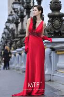 Free Shipping L3001 Paris Station 2013 New Sexy Deep V-neck Silk Elegant Dress Toast Clothing