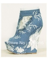 2013 new blue nice lace jeans platform wedge ankel boots