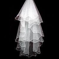 Wholesale Free Shipping 2013 Fashion Handmade Bridal Veils,Wedding Veils,Pearl Veils Two-Layer Wedding Accessories
