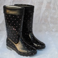 Winter woman fashion pink dot rain boots high rainboots women's dual-use water shoes rain shoes lady wellies with thermal socks