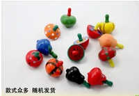 Free Shipping 10pcs /pack Mix Packing Wooden Baby Educational Toys Colored wooden Small Fruit Gyro  Toys Hot Sale 0.1g/PCS