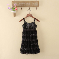 Quality layered dress chiffon paillette dress spaghetti strap one-piece dress 20d748a