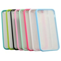 Free shipping! 100pcs/lot New Bumper With Matte Clear Back Case Cover for iPhone 5 KSL273
