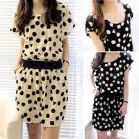 Q353 New Woman Ladies Graceful Chiffon Geometric Prints Summer Mini Short Dress Beach Casual Sundress Fully Lined Black Beige