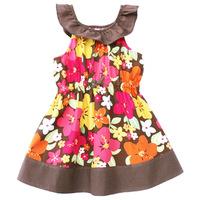 2013 Summer Girls Baby princess ruffles-collar dress Flower sleeveless print dresses for Toddler Girls bow coffee colors dress