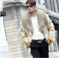 New Fashion 2013 Wolf Skin Leather Jacket Men Natural Fur Jacket Coat Men  Fur Outerwear & coats Dog Coat ems free shipping