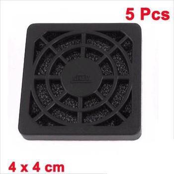 5 Pcs Computer Desktop Dust Proof Plastic Washable 4cm Fan Shield Filter Black