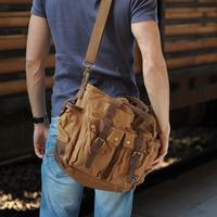 Free shipping cotton vintage genuine leather canvas men's messenger bags laptop bag man shoulder cross body handbag items MB12