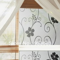 Wall stickers flower vine glue static window stickers glass film translucidus transparent sunscreen