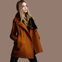 Free Shipping coats for woman winter fashion 2013 European double breasted long wool coat al-buy #4112
