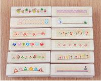 C31-003  New cute color life series DIY long wood stamp / 12 designs