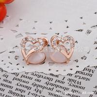 Inlaid opal earrings 18k rose gold heart-shaped Korean jewelry E450 earrings  fashion 2013 free shipping