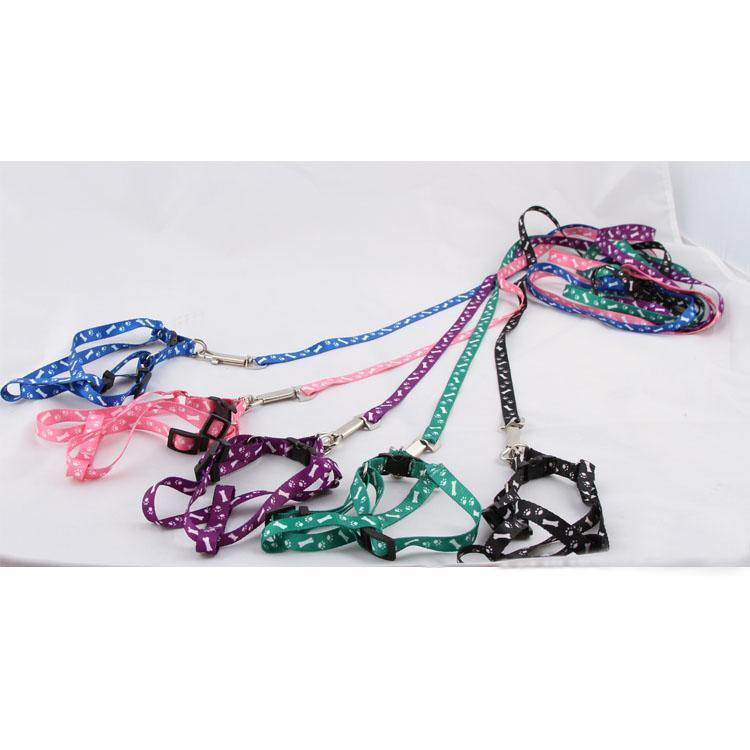 ADJUSTABLE PAWS PRINT ROPE SMALL PET DOG LEAD LEASH HARNESS HG-00306(China (Mainland))