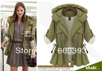Free shipping  2013 new Women autumn and winter slim short design with a hood trench outerwear sleeves spirals coat