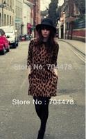 Summer Dress 2014 New Brand Women Vintage Leopard Print Slim Pleated Empire  Dress Vestidos Party Casual Dress  0013
