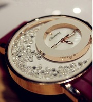 New arrivals 2013 luxury divers watch rubber band diamond gold dial concern women dress wedding gift free shipping