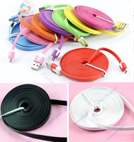 3m Noodle flat Flat Type Micro 5 Pin to USB Data Sync Charging Cable For Samsung HTC 8 colors to choose