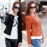 2014 Autumn PU Jacket  Female  Long-sleeve Slim Coat Leather Jacket  Women's Zipper PU Leather Jacket Lady Coat Outerwear C1041